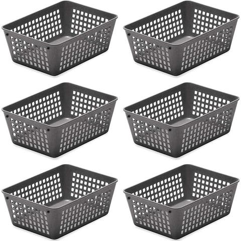 6-Pack Plastic Storage Baskets for Office Drawer, Classroom Desk