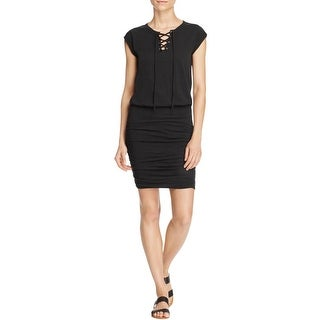 Velvet Womens Casual Dress Ruched Lace-Up