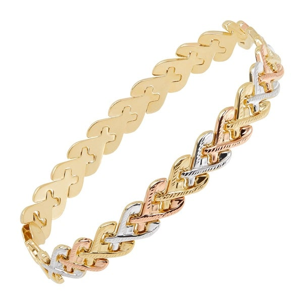 Just Gold Three-Tone Heart Link Chain Bracelet in 14K Gold
