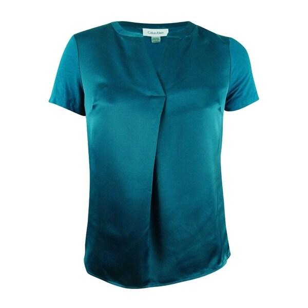 25d2f7b34b Shop Calvin Klein Women s Plus Size Charmeuse V-Neck Blouse (XL ...