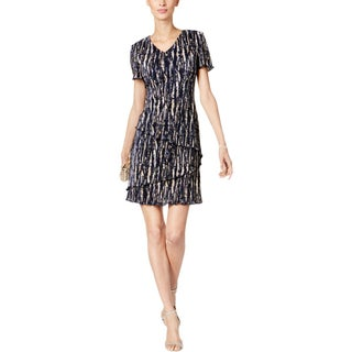 Connected Apparel Womens Petites Party Dress Short Sleeves Mini