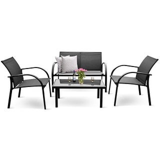 Costway 4PCS Patio Garden Furniture Set Steel Frame Outdoor Lawn Sofa Chairs Table Gray