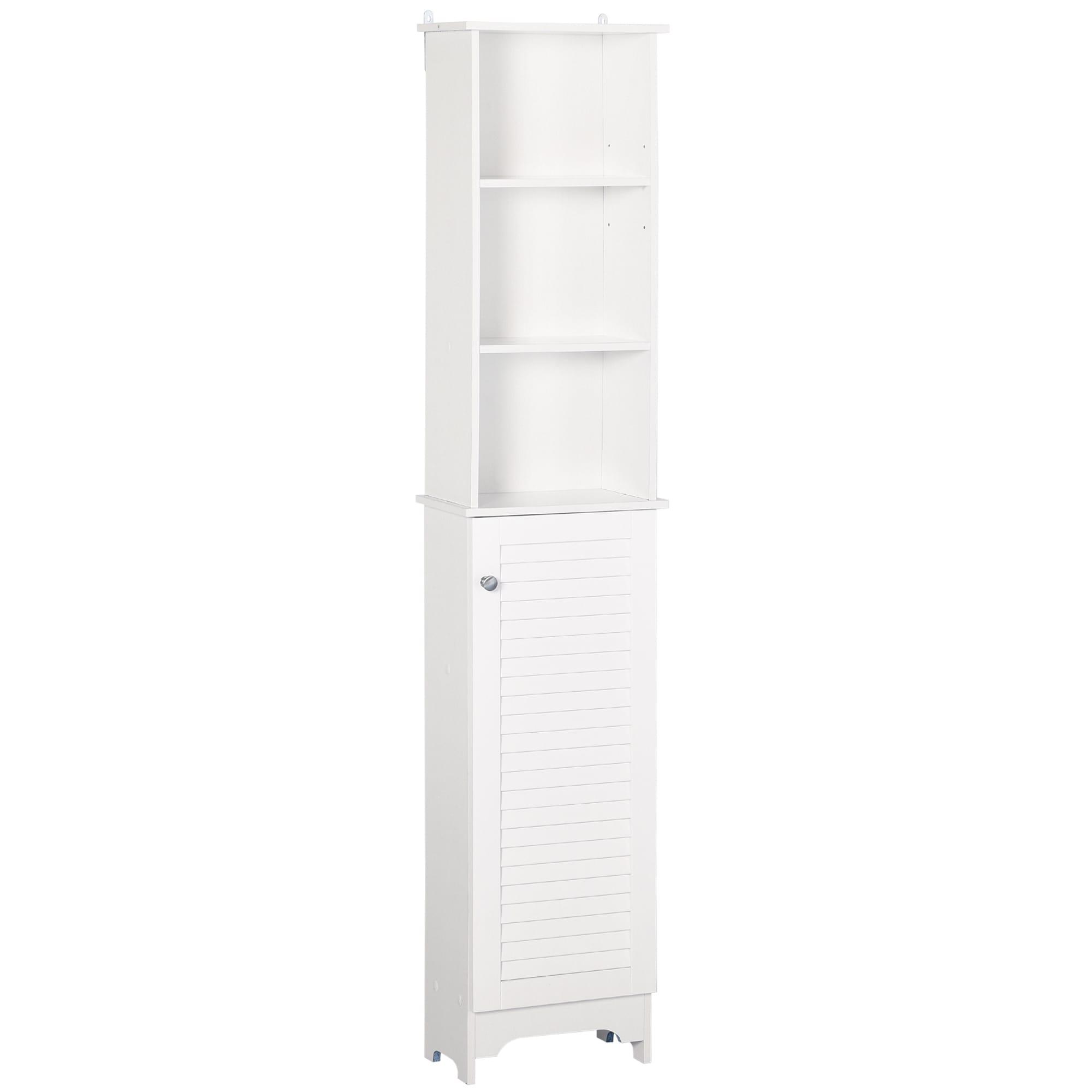 Homcom Freestanding Bathroom Tall Storage Cabinet Organizer Tower Cupboard Adjustable Shelves Wooden Furniture White Overstock 31688313