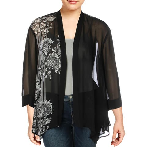 Vince Camuto Womens Plus Melody Cardigan Top Chiffon Open Front - Rich Black