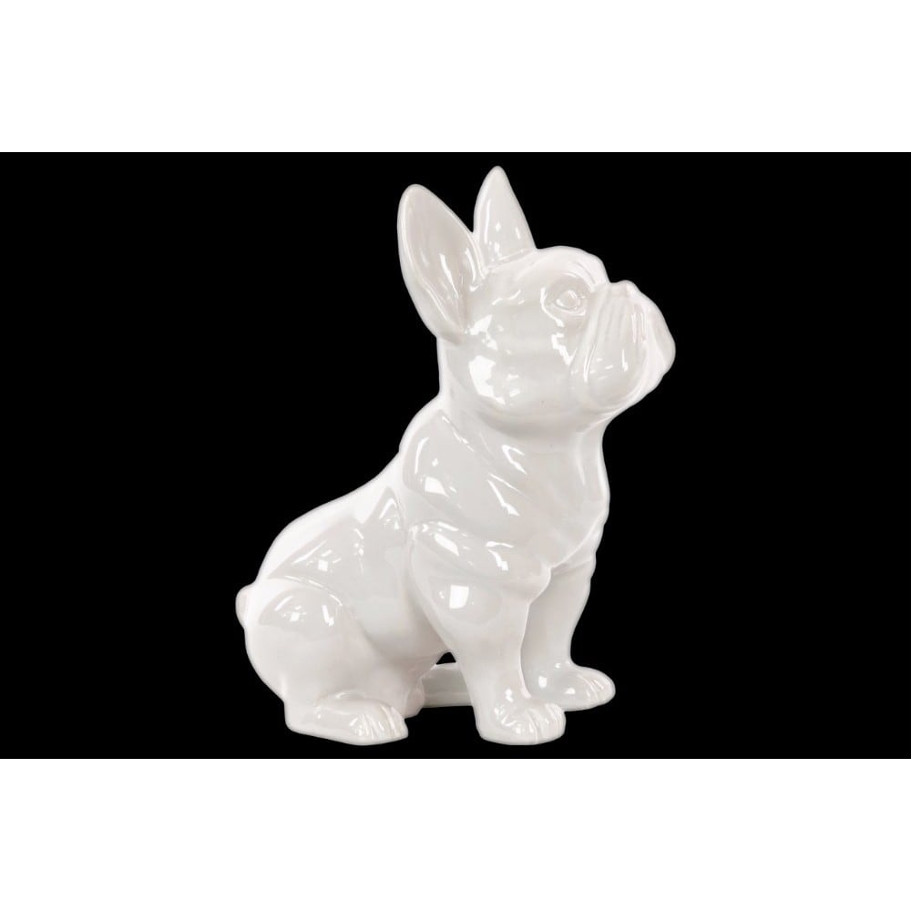 Ceramic Sitting French Bulldog Figurine with Pricked Ears, Glossy White