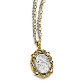 14k Gold IP & Silvertone Crystal Chain Angel Locket Necklace - 24in