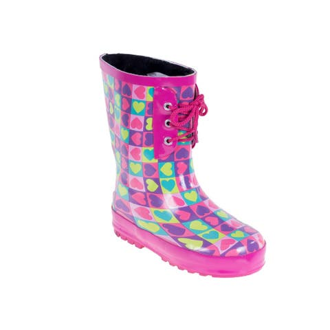 Forever Young Kid's Rubber Lace Up Heart Print Rainboots