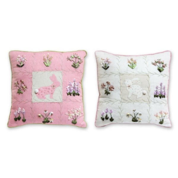 Set of 2 Decorative Pink and White Pillows with Bunnies and Flowers 16""