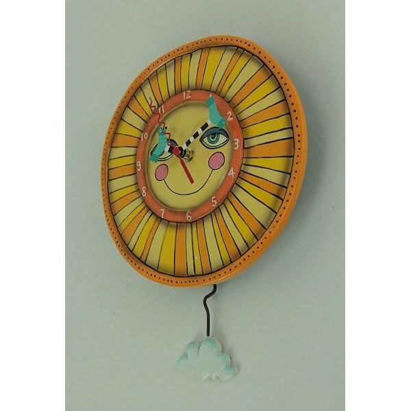 Yellow SUNNY SKIES SUN Designer Wall Clock by Allen Designs
