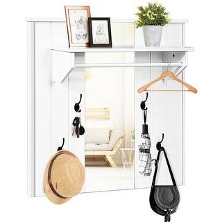 Gymax Wall Mounted Mirror Coat Hat Rack Storage Shelf w/4 Hooks &