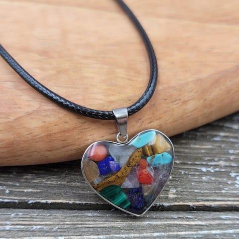 Rainbow Gemstone captured in Resin Heart Pendant Necklace