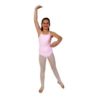 Girls Pink Rhinestone Trim Camisole Dancewear Leotard