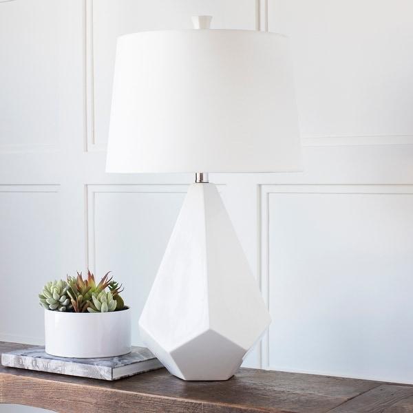 Marvelous Multi-faced White Ceramic Lamp