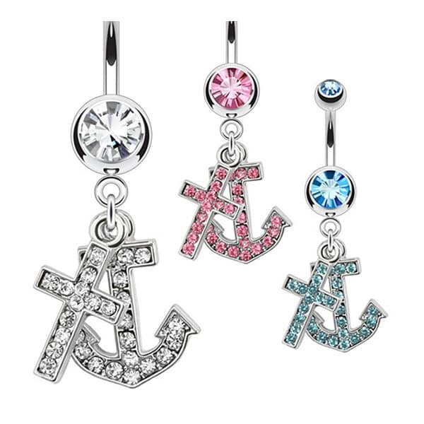Multi CZ Paved Anchor and Cross Dangle Navel Belly Button Ring 316L Surgical Steel (Sold Ind.)