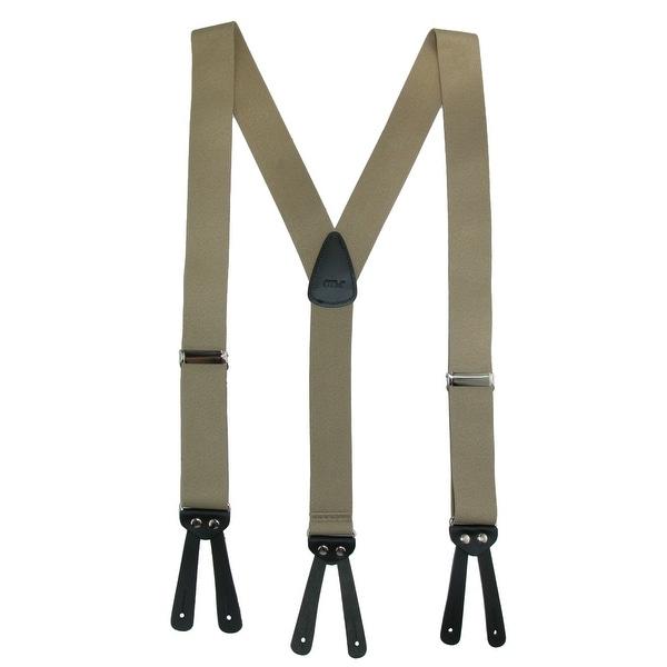 CTM® Men's Elastic Basic Y-Back Button-End Suspenders - One size