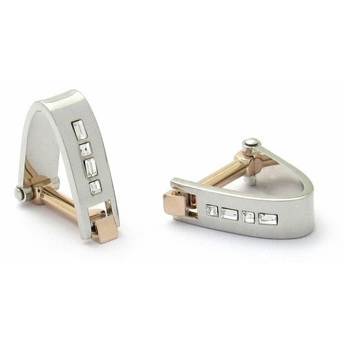 Wrap Around Cufflinks Crystal Two-Tone