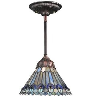 "Meyda Tiffany 67708 Single Light 8"" Wide Mini Pendant with Handmade Shade"