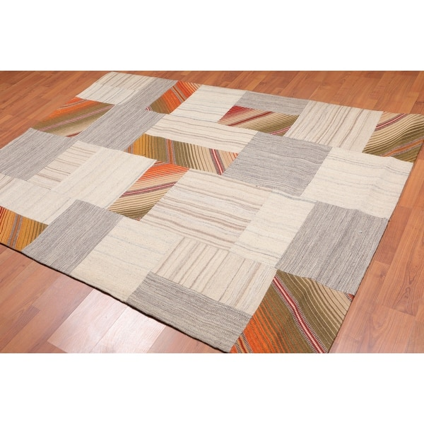 Hand Woven Beige Taupe Flatweave Wool Traditional Oriental Area Rug 5x7 5 X 8 Overstock 31523636