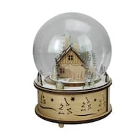 """8"""" LED Animated and Musical Woodland Bear Christmas Dome Tabletop Decoration - brown"""