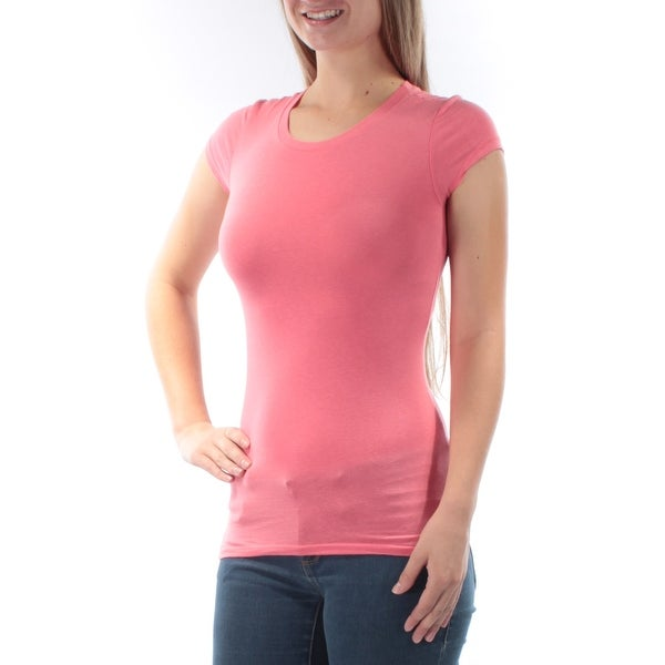 51d2e391a669 Shop HEARTS AND HIPS Womens New 6636 Pink Jewel Neck Cap Sleeve T-Shirt Top  S B+B - Free Shipping On Orders Over $45 - Overstock - 21306022