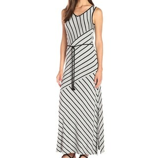 Kensie NEW Gray Women's Size Small S Striped Tie-Waist Maxi Dress
