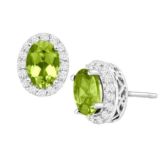2 ct Natural Peridot & Natural White Topaz Stud Earrings in 10K White Gold. - Green
