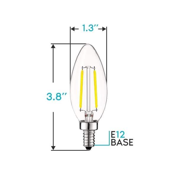 400Lumens CRI85+ 40W Equivalent Renewed E12 Candelabra LED Bulbs SHINE HAI Updated 3000K Warm White LED Chandelier Bulbs Pack of 12 Non-Dimmable B11 LED Candle Light Bulbs