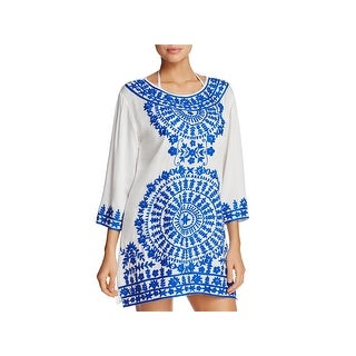 Ella Moss Womens Tunic Dress Embroidered Floral