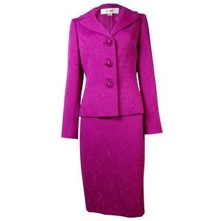Le Suit Women's Venna Floral Jacquard Skirt Suit - BERRY
