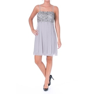 Sue Wong Womens Laser Strips Lace Overlay Cocktail Dress - 6
