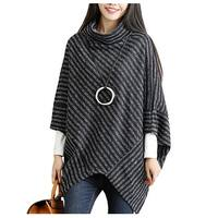 QZUnique Women Turtleneck Poncho Batwing Sleeves Sweater Cape Cloak