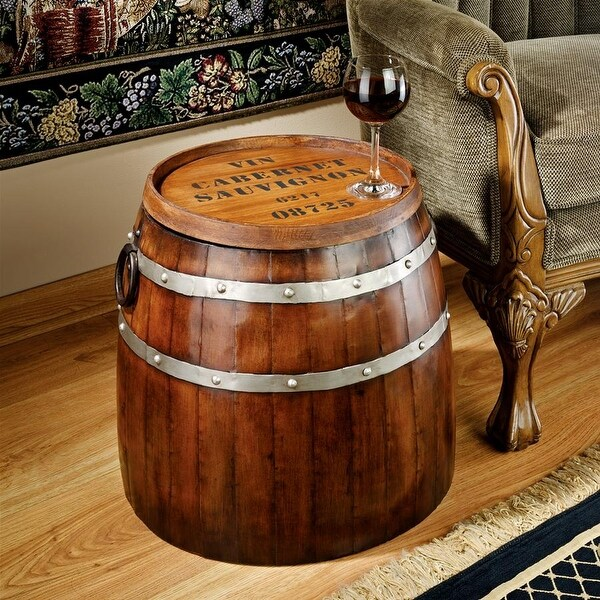 Shop Design Toscano French Wine Barrel Side Table On Sale Free