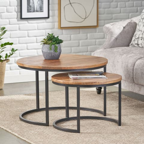 Rosher Modern Industrial Handcrafted Mango Wood Nested Tables (Set of 2) by Christopher Knight Home