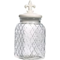 Palais Glassware Preserving Glass Canister Food Jar with Ceramic Lid Handle (Medium, Diamond Pattern Glass with White Fleur De L