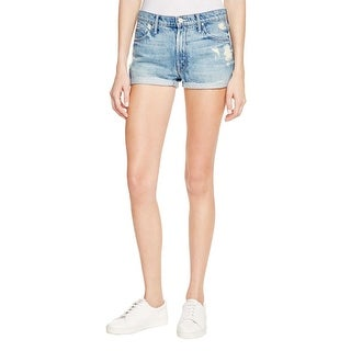 Mother Womens Denim Shorts Destroyed Cuffed
