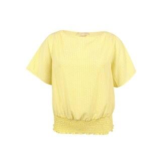 MICHAEL Michael Kors Women's Plus Size Smocked-Hem Blouson Top - Citrus