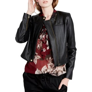 Rachel Rachel Roy Womens Motorcycle Jacket Quilted Cropped