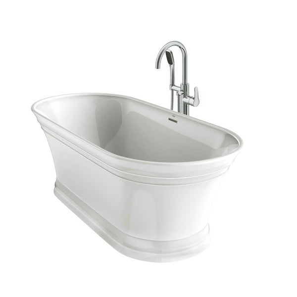 Jacuzzi Lyb6731bcxxxx Lyndsay 67 Free Standing Soaking Bathtub With Nw50827 Tub Filler Faucet And Center Drain Overstock 21022760