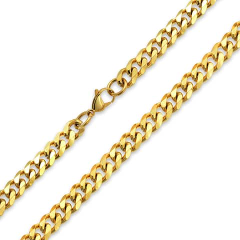 Heavy Solid Curb Cuban Link Chain 10 mm For Men Necklace Gold Plated Stainless Steel