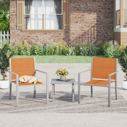 Corvus Yorkdale 3-piece Outdoor Modern Sling Fabric Chat Set with Side Table