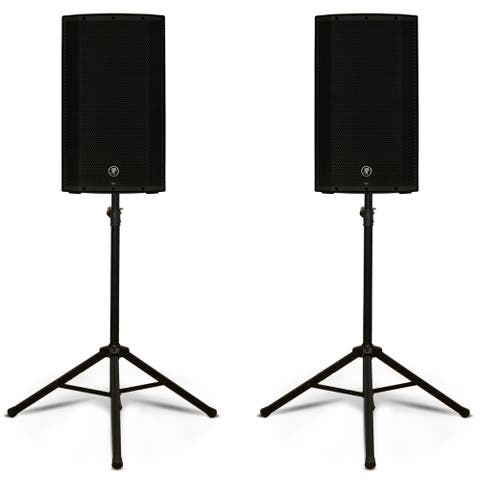 """Mackie THUMP12BST Powered 12"""" Bluetooth Loudspeakers 2600W Speakers and Stands"""