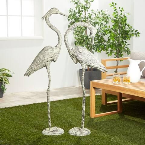 Aluminum Coastal Garden Sculpture Birds (Set of 2)