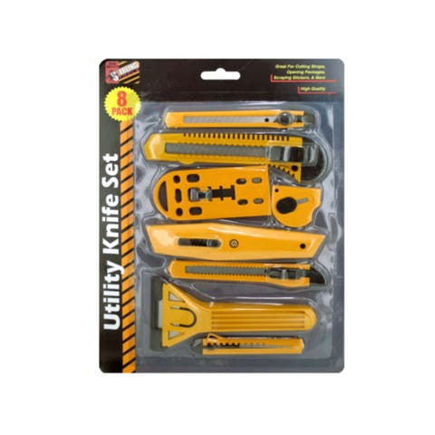 Pack of 4 Yellow and Black Multi-Purpose Utility 7-Piece Knife Sets - N/A