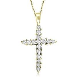 1.00 cttw. 14K Yellow Gold Round Cut Diamond Cross Pendant