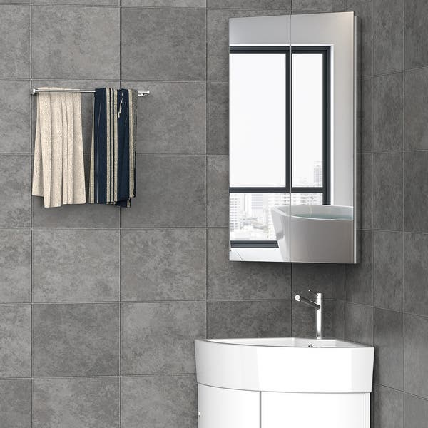 Kleankin Corner Mirror Cabinet Wall Mounted With Double Doors And 3 Shelves Multipurpose Storage Organizer For Bathroom Overstock 32263273