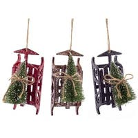 Pack of 18 Red, Brown and Black Sled with Sisal Tree Christmas Ornaments 6""
