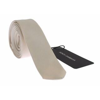 Dolce & Gabbana Dolce & Gabbana Men White Solid Silk Skinny Tie - One size