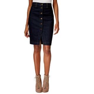 Buffalo David Bitton Womens Denim Skirt Knee-Length High-Waist