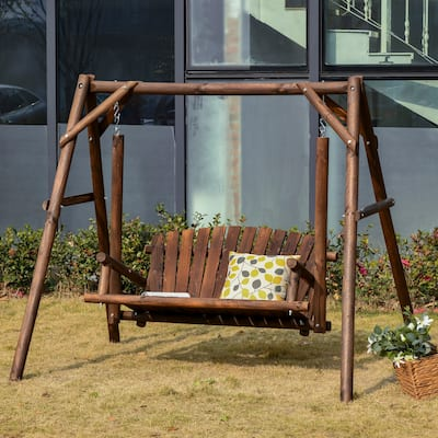 Outsunny 6.5' Outdoor Rustic Loveseat 2 Person Freestanding Solid Wood Natural Log Garden Swing
