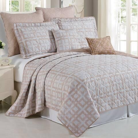 Serenta Austin Geo Printed Microfiber 7-piece Bedspread Quilt Set